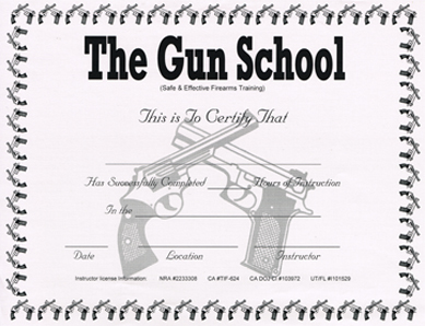 The Gun School certificate